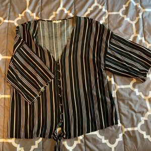 Stripped tie front button blouse